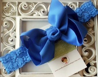 NEW ITEM----Boutique Baby Toddler Girl Hair Bow Clip with Lace Headband----ROYAL----