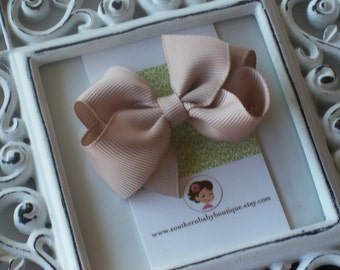 New Item----Little Baby Toddler Girl Hair Bows 2.5 inch---Khaki----Ready to Ship