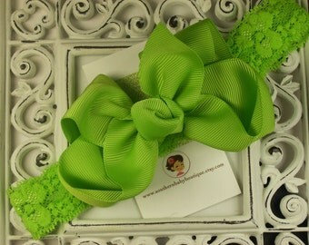 NEW----Boutique Baby Toddler Girl Hair Bow Clip with Lace Headband----Lime Green----