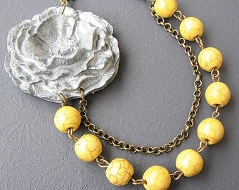 Beaded Necklace Flower Necklace Grey Jewelry Yellow Necklace Statement Necklace Bridesmaid Jewelry Gift For Her