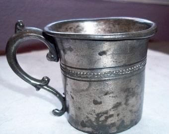 Vintage Victorian Silver Plate Baby Cup Handmade Primitive