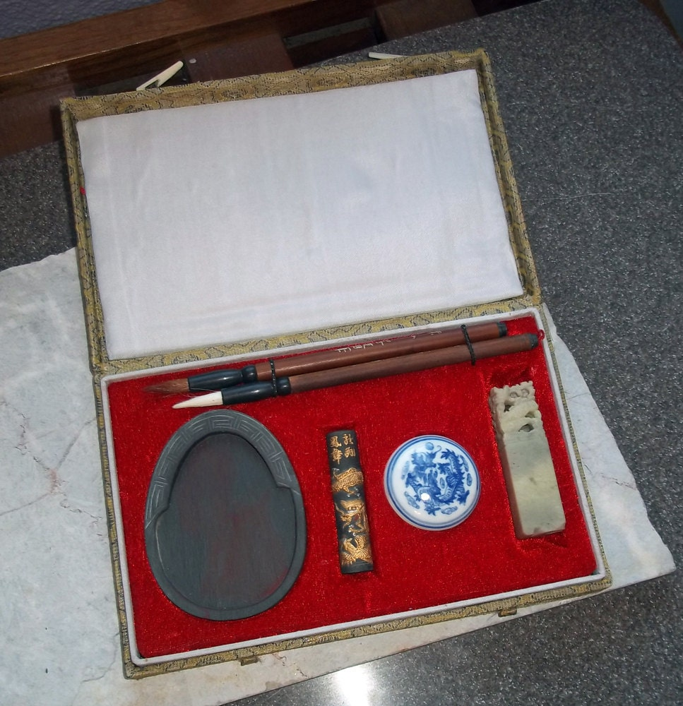 Vintage Chinese Calligraphy Boxed Set By Vintagedazzle On Etsy