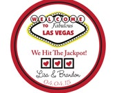 Personalized Stickers, Las Vegas Theme, Polka dots, Wedding, Birthday,Party, Favor stickers,Labels,Tags, Personalized Stickers Set of 100