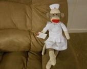 Nurse sock monkey Doll, RN LPN new original Rockford red heel, in Scrubs classic Will Personalize