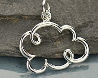 Sterling Silver Cloud Charm, Small Silver Cloud Pendant 22x17.5mmx1mm