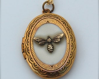 Bumblebee Jewelry Locket Necklace Bumble Bee Brass Gold Oval Bee Pendant The Birds and the Bees Insects Miniature Charms