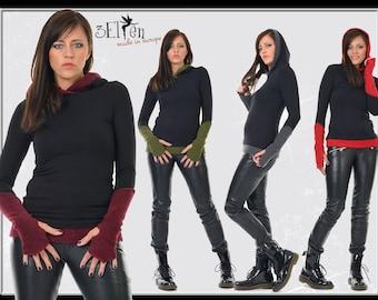 3Elfen hoodie black with gauntlets