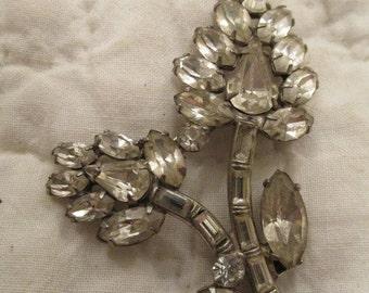 Antique Rhinestone Brooch Floral Design SALE