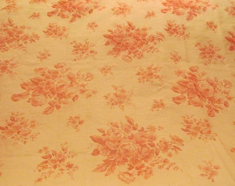 """Sheer Fabric Pink on Pink with Roses Very Pretty 1 yard x 44""""  More available SALE"""