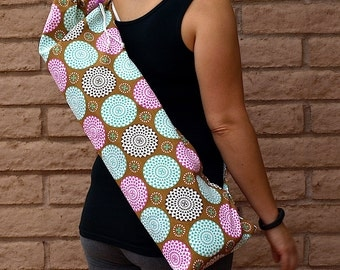 Pink and Blue Yoga Mat Bag, BURST of pom poms, Yoga Mat Tote, Yoga Bag, Yoga Tote, Yoga Sling, Yoga Sac, Yoga Sack, Handmade, ,
