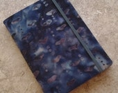 Batik Covered Pocket Memo Book, COAL, Refillable Mini Composition Notebook Cover in Dramatic Black and Gray Batikl