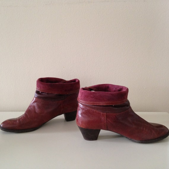vintage pirate maroon ankle boots booties folded cuffed