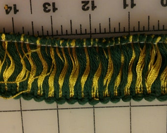 """1-7/8"""" wide cotton Fringe Trim Green and Gold Yellow 3-3/8yd length"""
