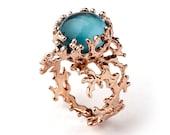 CORAL London Blue Topaz Ring, Rose Gold Blue Topaz Ring, RESERVED for Brandon