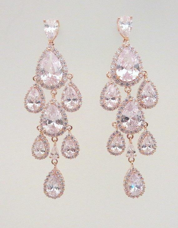 Rose Gold Chandelier Earrings Rose Gold Bridal Earrings
