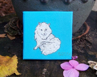 "arctic fox, 3"" X 3"" mini painting with black easel, home decor"