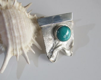 Turquoise & Sterling Pendant, Round Cabochon on Textured 925 Silver, All Handcrafted