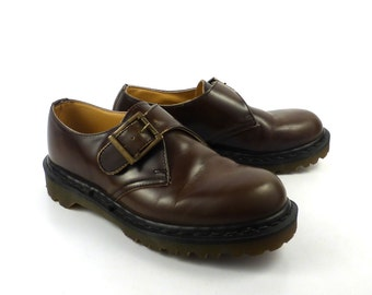 Doc Martens Shoes Mary Janes 1990  Brown Leather T strap UK size 5 Women's US size 7