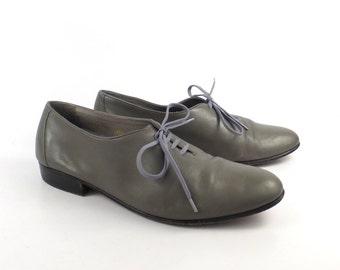 Gray Leather Shoes Vintage 1980s Oxfords Hippopotamus men's size 8 D