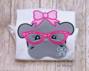 Nerdy Hippo Girl Embroidery Applique Design