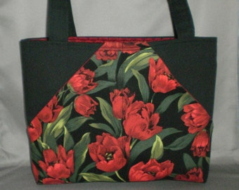 Fabric Tote Bag - Purse -Tulips - Sassy Pockets - Red