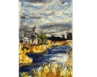 SALE...WINDMILLS Needle Felt Landscape Wool Painting Tapestry~12x18
