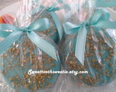 Blue and Gold Chocolate Covered Oreos Cookies Wedding Favors Baby Shower Favors Blue Gold Party Favors Baptism Sweet 16 Favors Little Prince