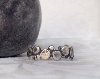 Dots Band Silver ring, Sterling silver band ring