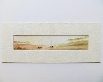 original watercolor painting of a meditative scene of sailing boats 008