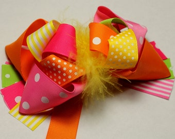 """5.5-6"""" Orange, Pink, Yellow, Green Funky Hair Bow-Over The Top Bow-Spring Bow"""