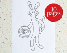 Easter Sock Monkey Colouring Pages, Downloadable pdf, Digital File, Easter Activity, Sock Monkey, Coloring Book, Children