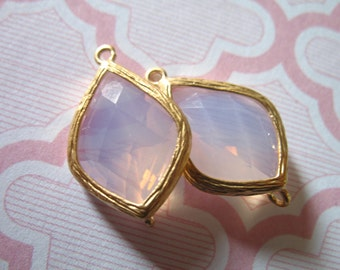 2 pcs / Glass Stone Pendant Charm / Ice Pink / 22x14 mm, Arabesque Teardrop Silver or Gold Plated Brass Framed Gemstone /  Wholesale GP2.IP.