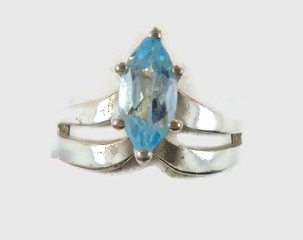 Blue Topaz Ring, Sterling Silver,  Marquise, Faceted Stone, Size 8, Statement Ring, Blue Stone, Gemstone, Vintage Jewelry, Vintage Ring, 925
