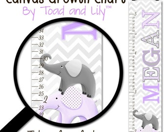 Canvas GROWTH CHART Purple and Grey Chevron Elephant Girls Kids Bedroom Baby Nursery Wall Art GC0233