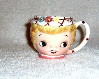Vintage Lefton Dainty Miss Mug Cup 936 Teacup Anthropomorphic Girl Milk Coffee Blonde Flowers Pink