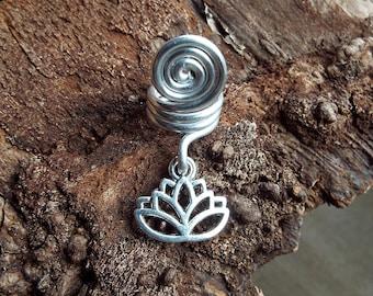 Lotus Dread Charm Silver Tone DREADS Dreadlock Accessory Extension Accessories Dread Boho Bohemian Hippie Bead Dangle