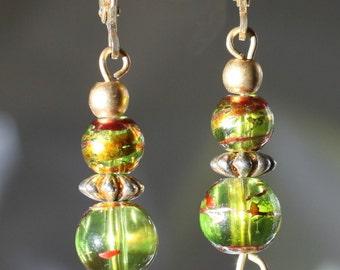 Butterfly Dangle Green Glass Bead Earrings