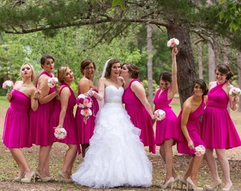 USA, HOT PINK, Convertible dress, infinity dress, bridesmaids dress