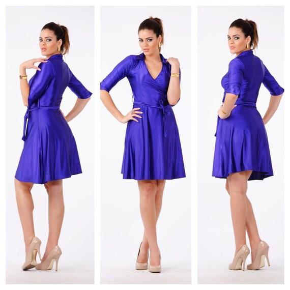 purple wrap dress women woman vintage dresses by mittmibyd