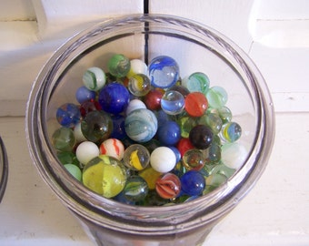 Vintage Jar Chock Full of Marbles an Instant Collection