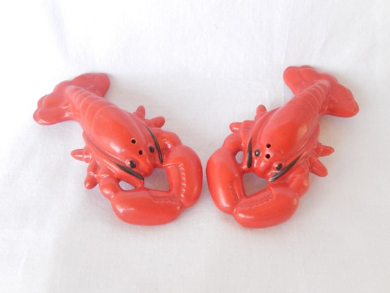 vintage lobster decor salt and pepper shaker Japan
