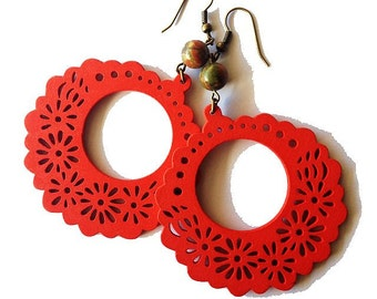 Large Red Wooden Floral Hoop Earrings with Brown Stone Beads