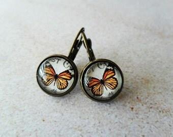 Orange Monarch Butterfly Glass Earrings