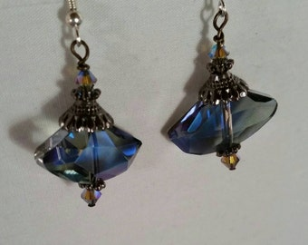 Romantic Blue Tone Crystal Earrings • Matching Necklace sold seperately