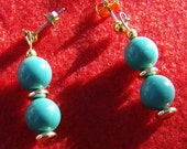 Turquoise Green Earrings - Handmade with Gold Plated Posts by JewelryArtistry - E397