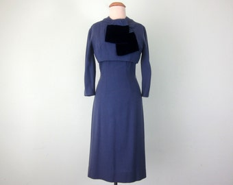 60s periwinkle wool & velvet fitted long sleeve wiggle dress (xs - s)