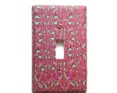 Toggle Switchplate, Single Switch Plate with Pink and Mint Green Repeated Pattern