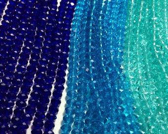 Luscious Crystal Rondelle Beads in Blues - 8x5mm