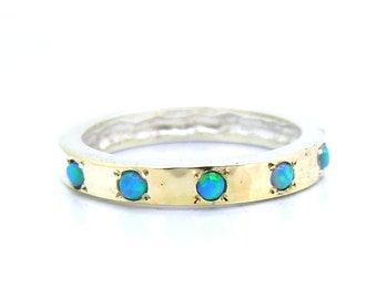 Hammered sterling silver & gold opal ring