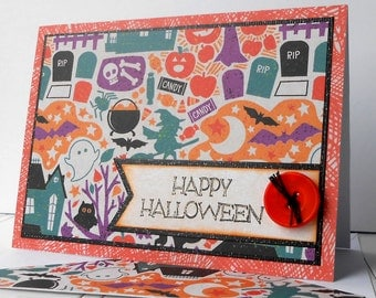 VALUE Halloween Card with Matching Embellished Envelope - Trick or Treat Night